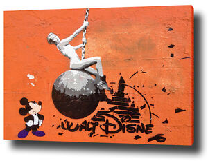Image Is Loading BANKSY MILEY CYRUS MICKEY MOUSE DISNEY CANVAS PRINT
