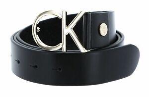 Calvin Klein Adjustable Belt 3.5 CK Logo Black Leather / Light Gold Buckle