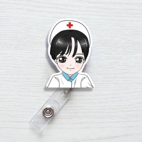 ID Name Card Exhibition Retractable Clip Badge Holder Nurse Doctors Badge Reel