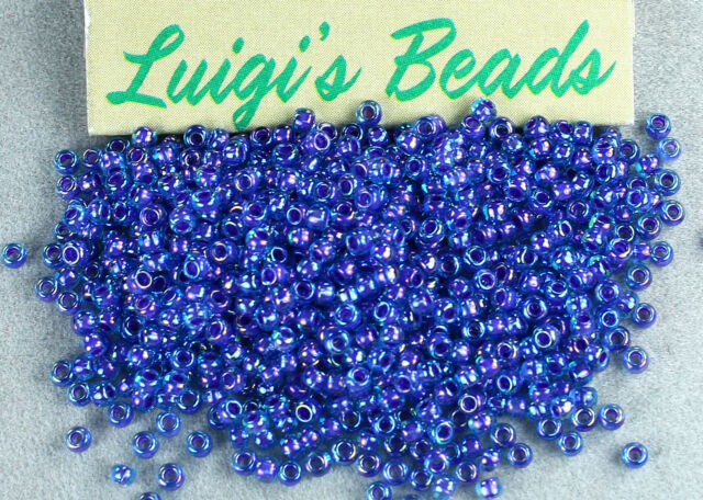 11/0 Round Toho Japanese Glass Seed Beads #1837- Rainbow Aqua/Opaque Purple 10g