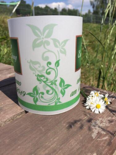 Datum 4 x Tischlicht Schuleingang Tischdeko Windlicht Einschulung Grün mit Name