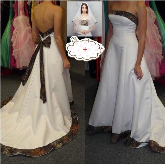 New A Line Camo Wedding Dresses Formal Camouflage Bow Bridal Gowns Veil Free