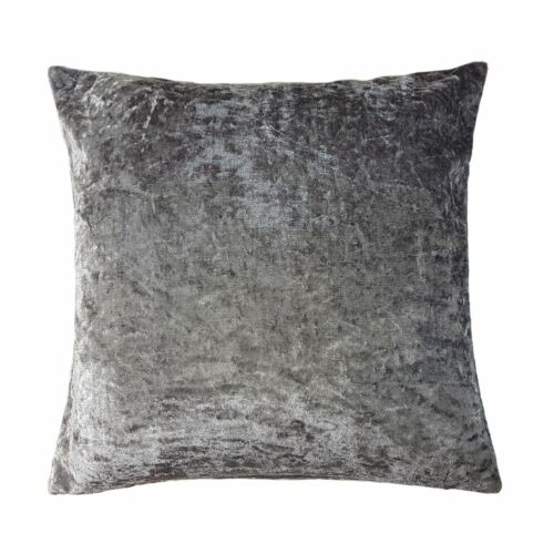 45CM SOFT CRUSHED VELVET SILVER GREY CUSHION COVER 18/""