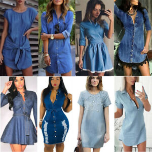 Women-Denim-Jeans-Short-Mini-Dress-Pocket-Summer-Casual-Party-T-Shirt-Dresses-US
