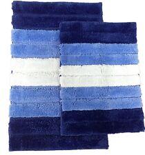 2 Piece High Top Striped Ombree Ultra Soft Microfiber Bath Rug Set Blue Navy