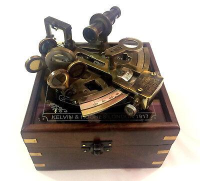 """5 """"antikes Sammlerstück Nautisch Messing Marine Astrolabe Sextant Mit Holzkiste Delikatessen Von Allen Geliebt"""