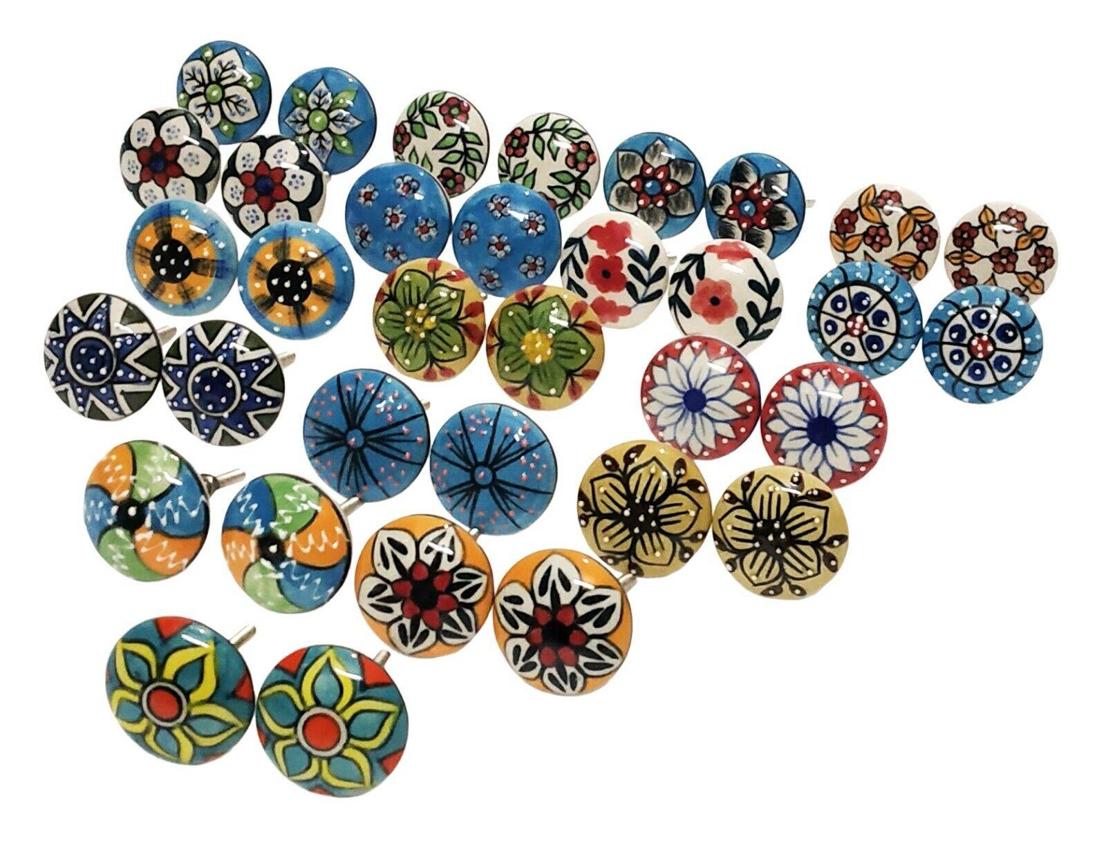 Door Knobs Multi color Door Ceramic Pottery Knob Drawer Handles Puller Lot Of 34