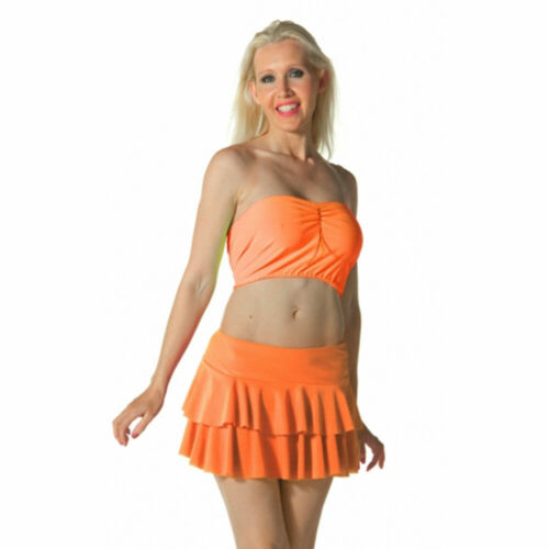 LADIES WOMENS RARA TWO TIER FRILL DANCE NEON MINI SKIRTS FANCY DRESS PARTY S-XL