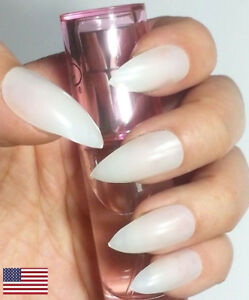 Image Is Loading 2get1free Natural Stiletto Nails 20pc False Full Cover