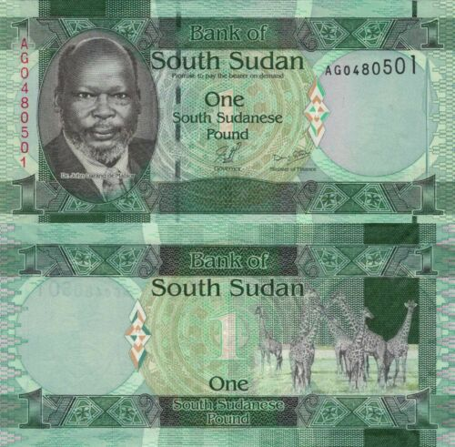 2011 South Sudan 1 Pounds John Garang//Giraffe//p5 UNC