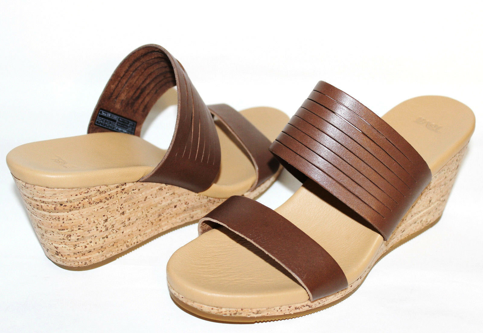 TEVA Brown Premium Leather 2.5 Cork Wedge Slide Comfort Sandal 10 M NEW L@@K