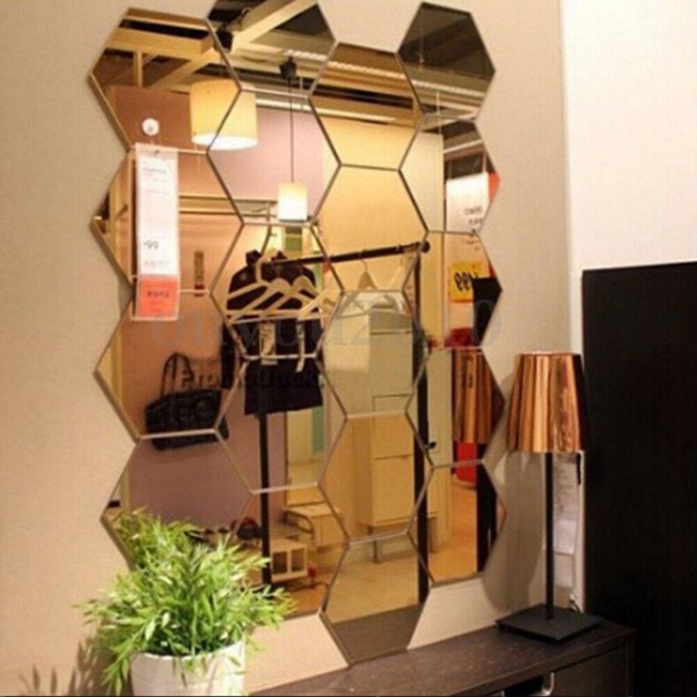 Home Decoration - 2/12Pcs 3D Mirror Hexagon Vinyl Removable Wall Sticker Decal Home Decor Art DIY