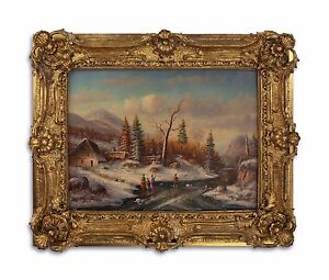 9973271-ds Oil Painting/Wood in the Wood/Resin-Gold Piece Frame on the Ice New
