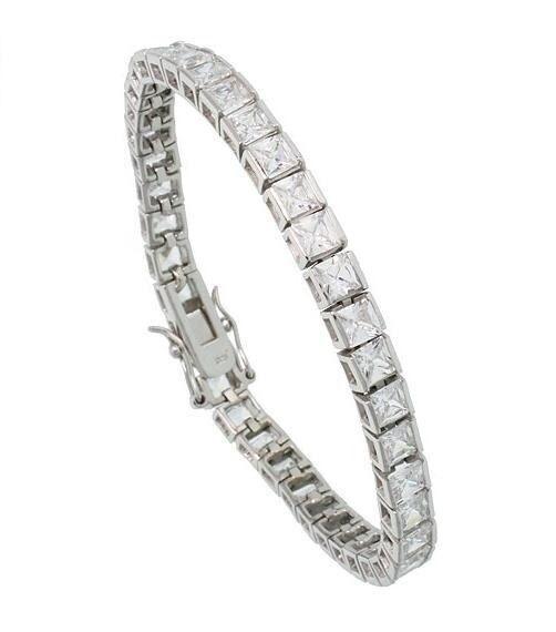 argentoo Sterling Sterling Sterling 925 Taglio Princess Finto Bracciale Tennis con Diamanti 4mm 59f881