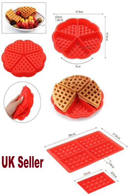 Red silicones Waffle Pan Cake Baking Chocolate Baked Waffle Maker Mold Mould Tray