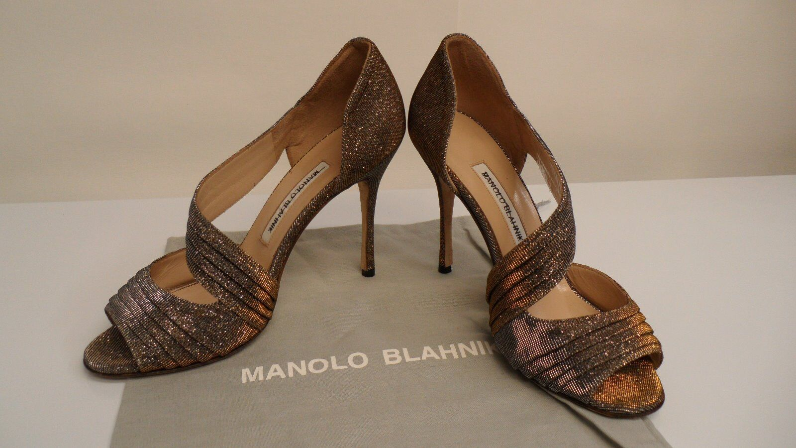 Manolo Blahnik Treuil Pleated Metallic Sandals Sz38 8 Made in