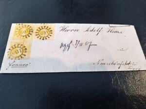 Bayern-Kreuzer-Brief-3-x-1-Kr-gelb-Mi-Nr-8-gMR-034-601-034-Zeil-nach-Neuschoenfeld