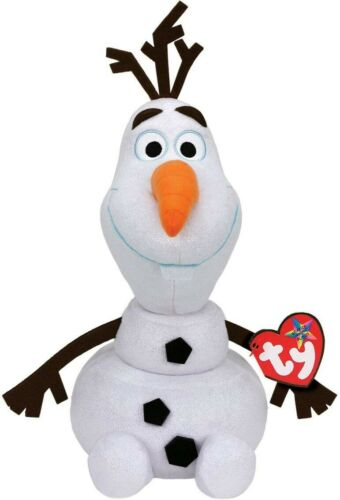 Olaf Pantin Neige Frozen Peluche Grande 35cm avec Son et Paillettes Original Ty