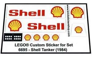Lego-Custom-Pre-Cut-Sticker-for-Town-Gas-Station-set-6695-Shell-Tanker-1984