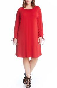 9180a518d2 NEW Karen Kane Plus Size Tie Sleeve Swing Red Dress pockets 3X ...