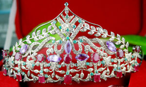 Humor 14.70cts Rose Cut Diamond Emerald Ruby Amethyst Victorian Look 925 Silver Tiara Bridal & Wedding Party Jewelry