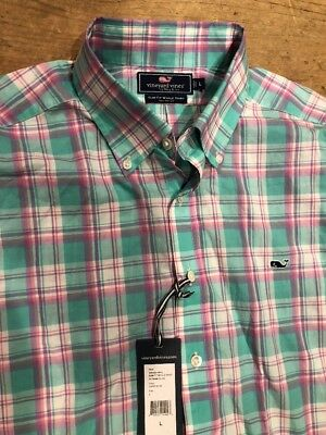 Vineyard Vines Boys L//S Seabrook Gingham Capri Blue Green Whale Shirt