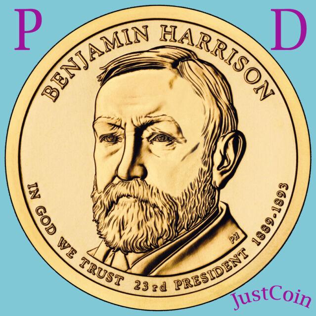 2012 P/&D BENJAMIN HARRISON GOLDEN PRESIDENTIAL DOLLAR SET TWO COINS UNCIRCULATED