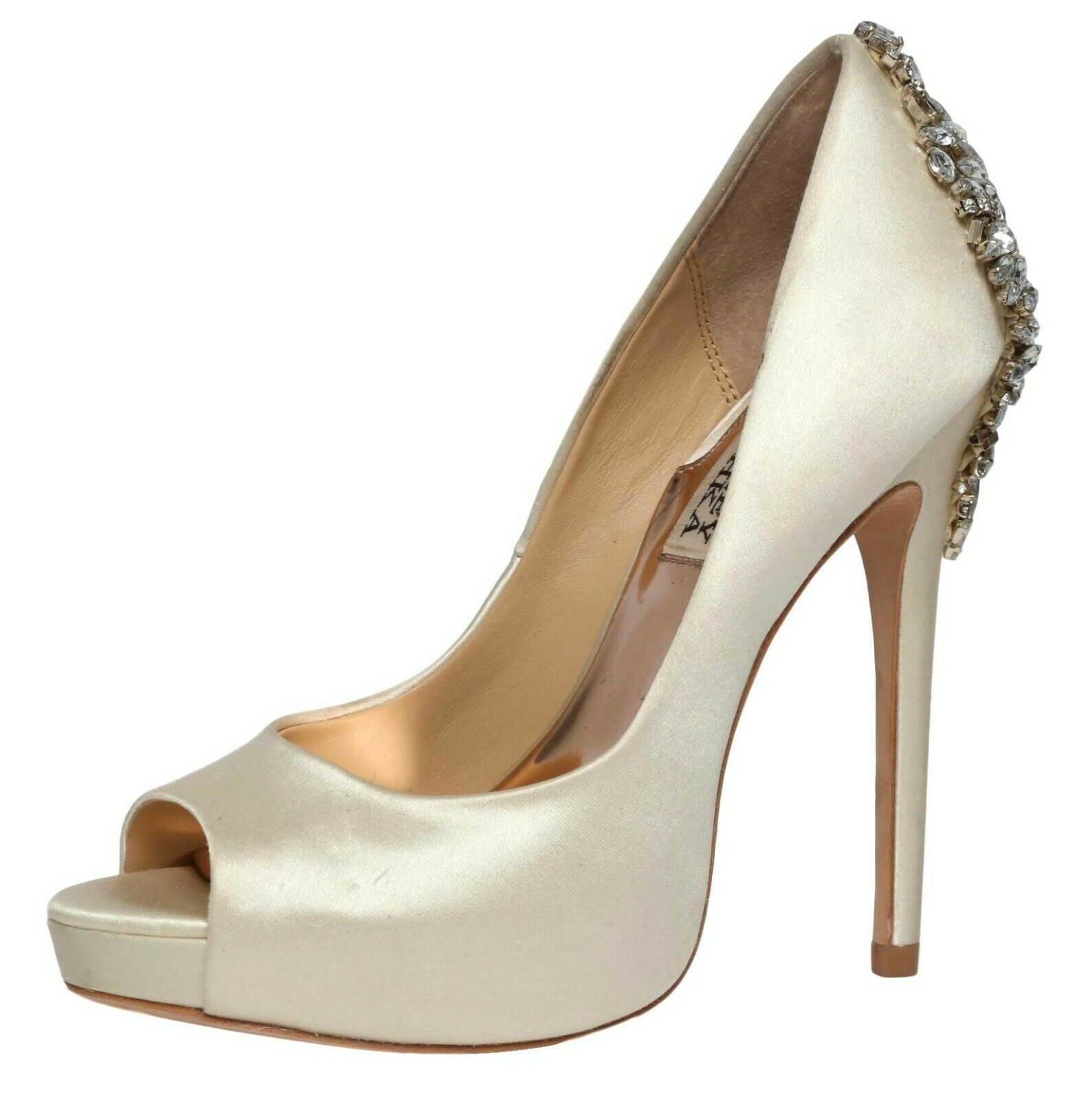 Badgley Mischka Womens Kiara Crystal Back Open Toe Pump Sz 5 M 3126