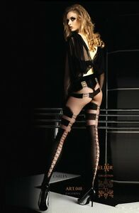 BALLERINA-Luxury-Sheer-Patterned-Tights-Lyrca-lace-up-backs-048-S-M-L-XL-BLACK