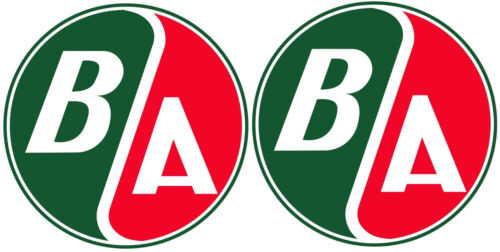 TWO (2) VINTAGE BRITISH AMERICAN B-A GAS DECALS GREEN/RED STICKERS 4 INCH VECTOR