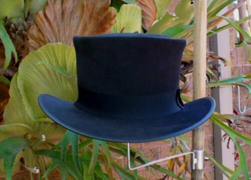 BLACK SUEDE LEATHER JOHN BULL FORMAL MENS TOP HAT STOVPIPE HAT HAND CRAFTED
