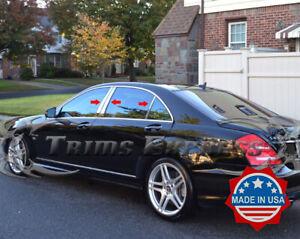 2007-2013-Mercedes-S-Class-W221-6Pc-Chrome-Pillar-Post-Trim-Trim-Stainless-Steel