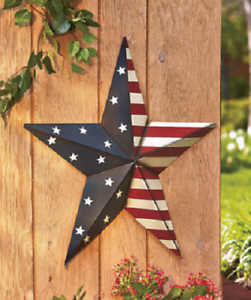 Details About Outdoor Wall Décor Art Metal American Barn Star Patio Red White Blue Large 24 In