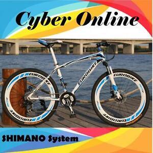 Brand-New-2018-Cyber-EURO-E100-White-amp-Blue-26-inch-21-SP-Shimano-Mountain-bike