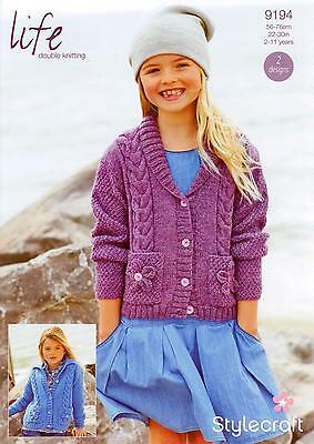 Knitted In DK. Stylecraft 9545 Children/'s Cardigans Knitting Pattern