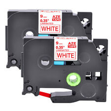 2pk Fits Brother P Touch Tz 222 Tze 222 Red On White Label Tape Pt H100 9mm