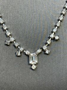 Stunning-1950-s-Clear-Rhinestones-Vintage-Necklace-Wedding-Flower-Girl-14