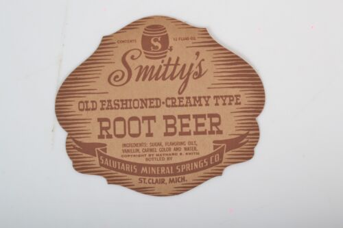 Vintage *UNUSED* Smitty/'s Old fashioned Root Beer  bottled by Salutaris