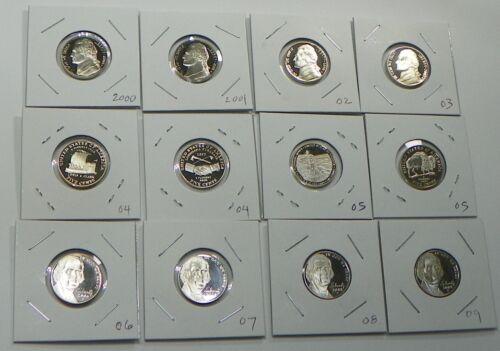 2000-2009 S Proof Jefferson Nickel 12 Coin Set