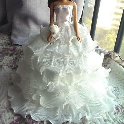White Handmade Wedding Party Bridal Princess Gown Dress Clothes for Barbie Doll