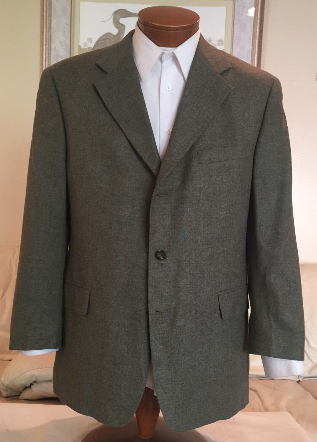Brooks Brothers  Herren Olive 3 Btn Silk Blend Blazer Sz 42 43 44 R Excellent