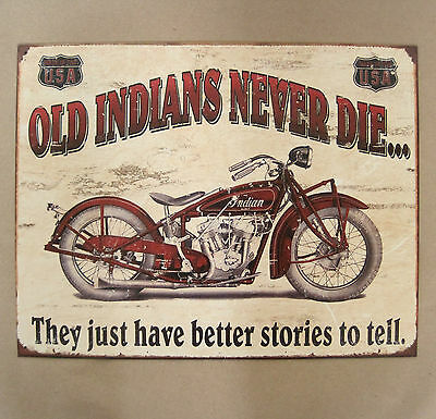 Indian Scout Motorcycle Nostalgic Tin Metal Sign,Biker,Made in USA, High,  #1637