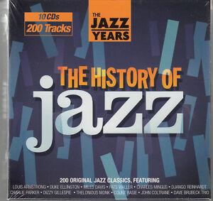 HISTORY-OF-JAZZ-10-CD-set-SEALED-NEW-Miles-Davis-John-Coltrane-Django-Reinhardt