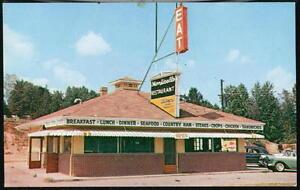 ASHEVILLE-NC-Monticello-Restaurant-Vintage-1950-039-s-Cars-North-Carolina-Postcard
