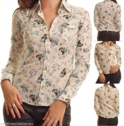 Camicia Donna Camicetta Leggera ZONA BRERA A736 Bianco//Verde Tg M veste piccolo