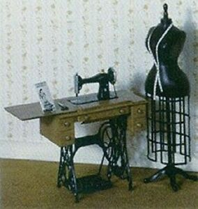 CHRYSNBON KIT Sewing Machine Table and Form Vintage Style - Dollhouse 1:12 scale