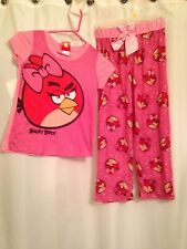 Pink Angry Bird Pajama Set S/S Top & Pants w Pink Bow Size 10