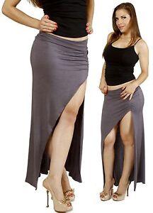 7d8ff5829b Gray Minimalist Thigh High Slit Ruched Side Split Jersey Long Maxi ...