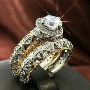 18K GOLD FILLED & 925 FILLED(STAMPED) DOUBLE RING SET WITH WHITE TOPAZ SIZE S1/2