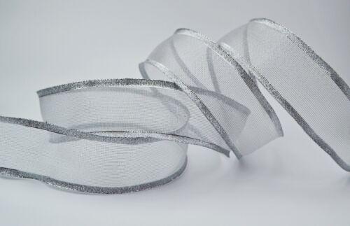3 m x 25 40mm Dekoband VANCOUVER Metallic Schleifenband Geschenkband Transparent